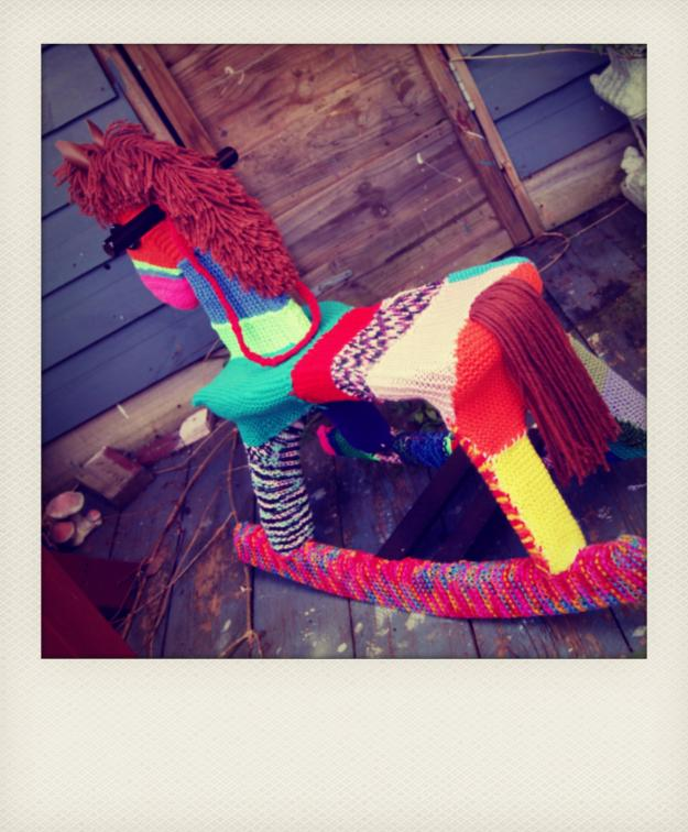 YARN BOMBING ROCKING HORSE