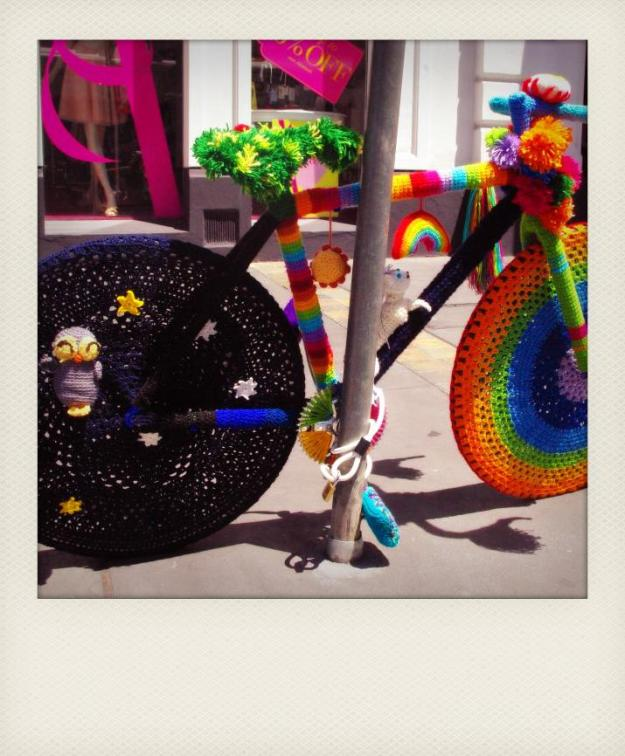 yarn bomb bike polaroid