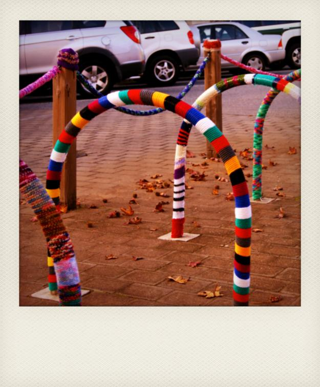 yarn bombing bike rack