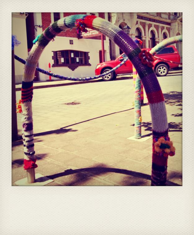 yarn bombing rack bike