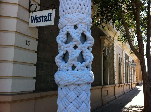 macrame yarn bombing