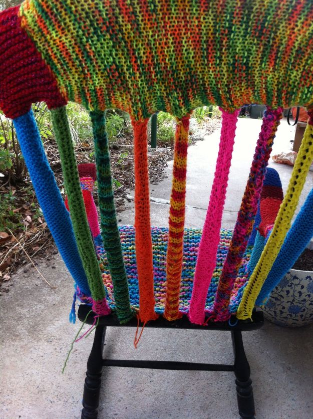 yarn bomb chair