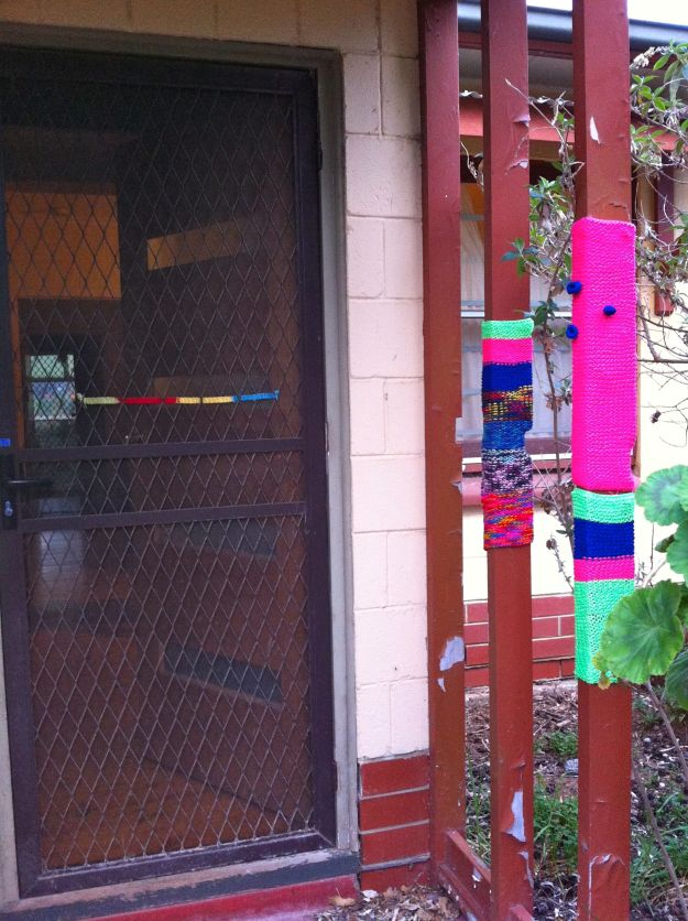 yarn bomb porch