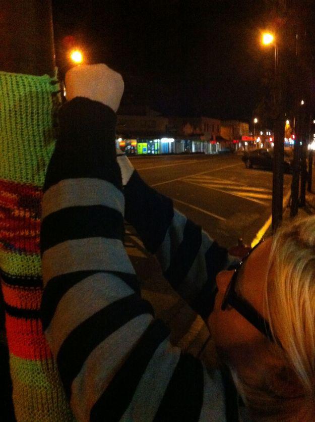 yarn bombing at night