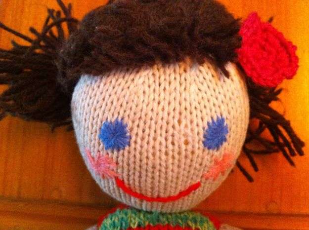 hand knit doll face