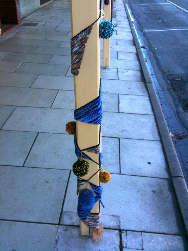 yarn bombed pole