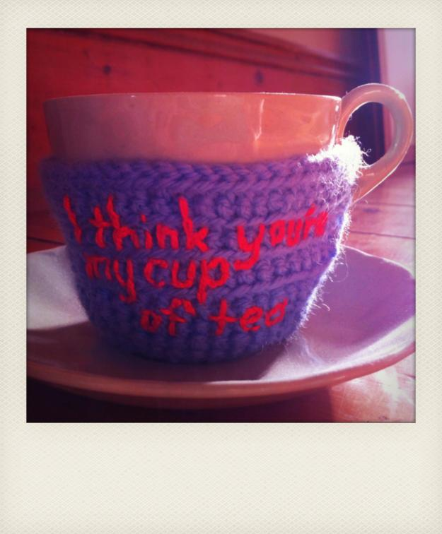 yarn bomb cup of tea