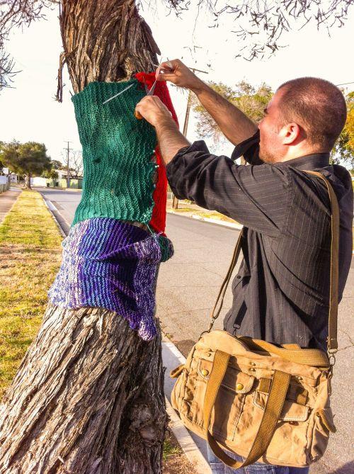 christmas yarn bombing 1