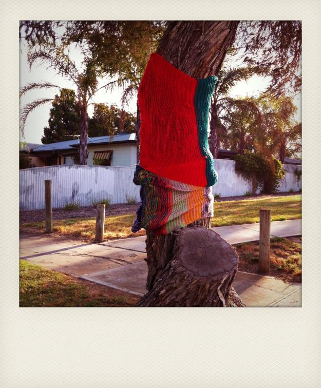 yarn bomb tree polaroid 1