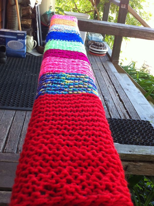 yarn bomb porch rail