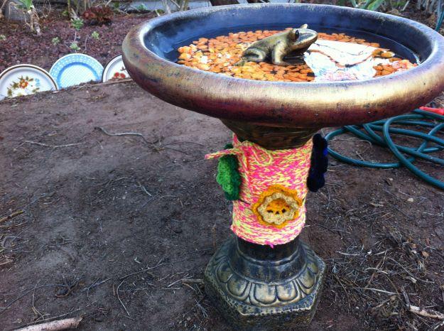yarn bomb birdbath 1
