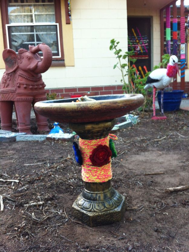 yarn bombing birdbath garden home house 3