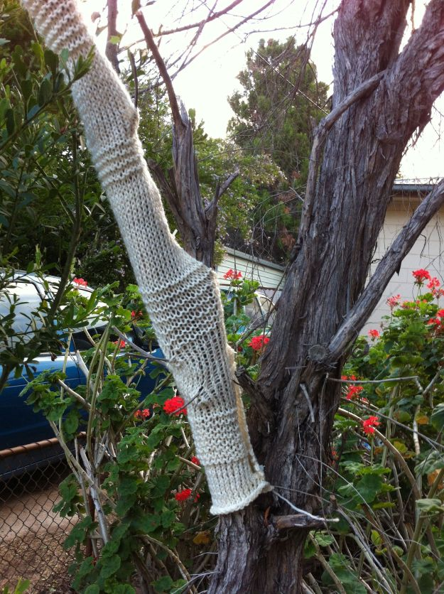 yarn bomb tree with a jumper 2