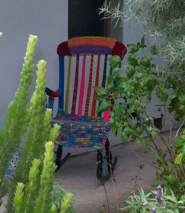 yarn bombed rocking chair