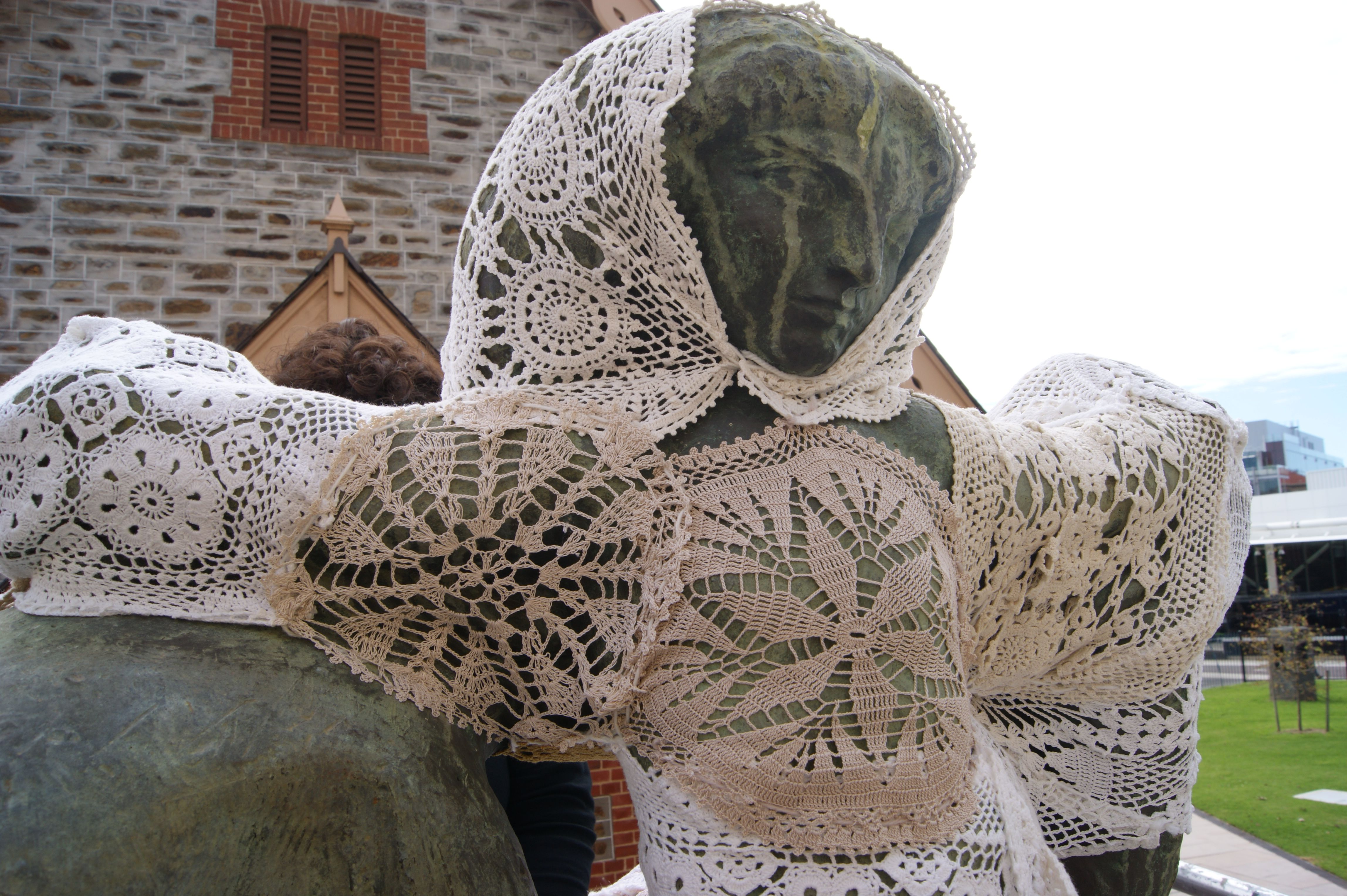 Crochet Patterns For Yarn Bombing : YARN BOMBED STATUE ADORNED IN LACE YARN BOMBING