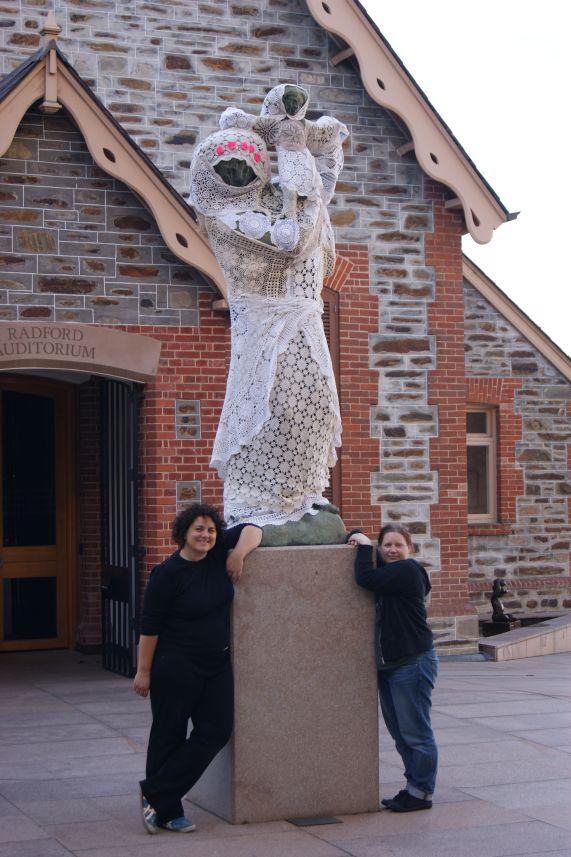 yarn bombing statue lace crochet