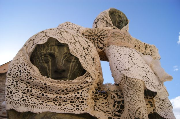 yarn bombing mary and child