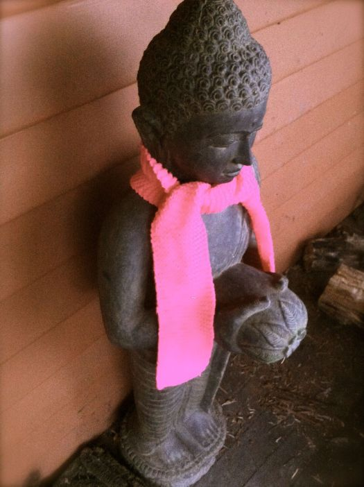 buddha yarn bombing