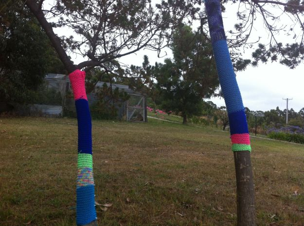 yarn bomb trees