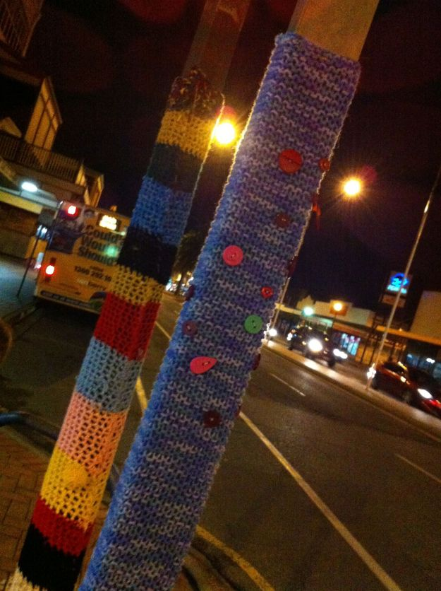 night time yarn bombing