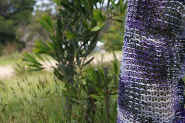 purple yarn bomb tree