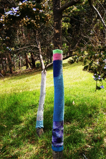 faded yarn bomb