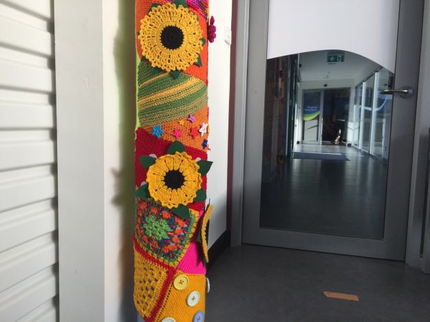 Sunflower yarn bomb at the Bruny Island Health Centre